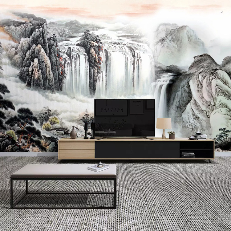 Customizable New Chinese Style Wallpaper Sofa TV Backdrop Mural Large Living Room Wall Cloth Seamless Landscape Traditional Chin