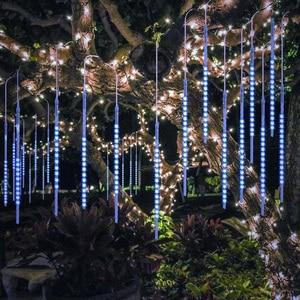 Image 1 - Luz LED de 8 tubos de 30/50cm para vacaciones, cadena de ducha de meteorito, Festival impermeable, luz de jardín interior y exterior para Año Nuevo