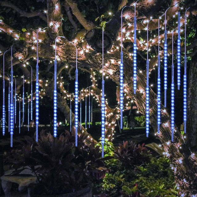 Luz LED de 8 tubos de 30/50cm para vacaciones, cadena de ducha de meteorito, Festival impermeable, luz de jardín interior y exterior para Año Nuevo