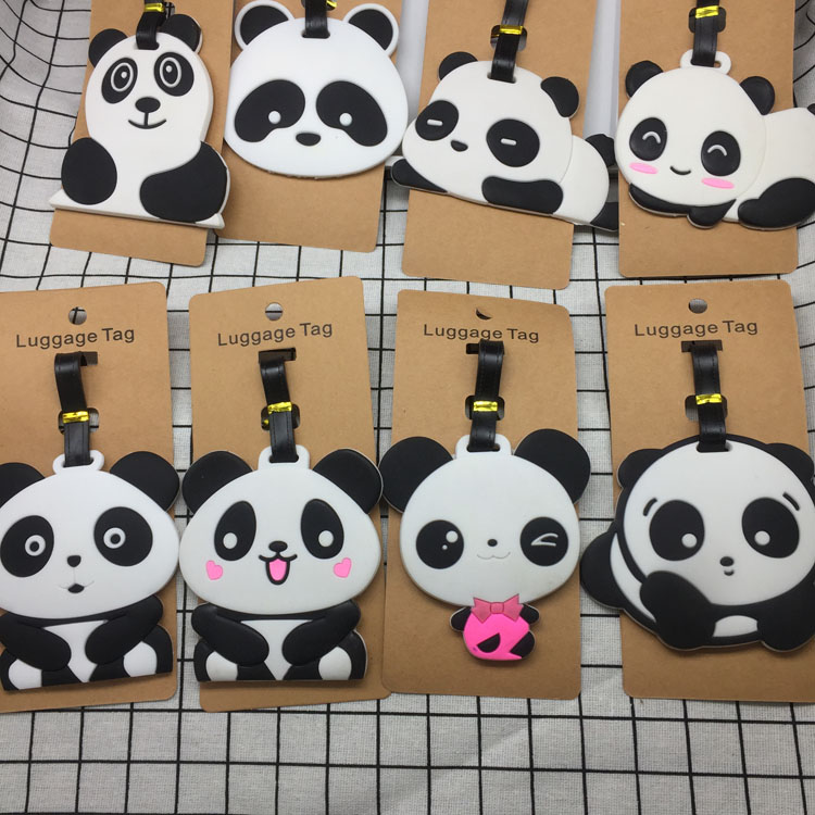 Travel Accessories Panda Creative Luggage Tag Horse Cartoon Silica Gel Suitcase ID Addres Holder Baggage Boarding Tags Portable