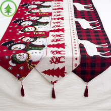 180*35cm Cotton Embroidered Christmas Table Runners Decoration Deer Cloth Cover for Home New Year Xmas Festivel