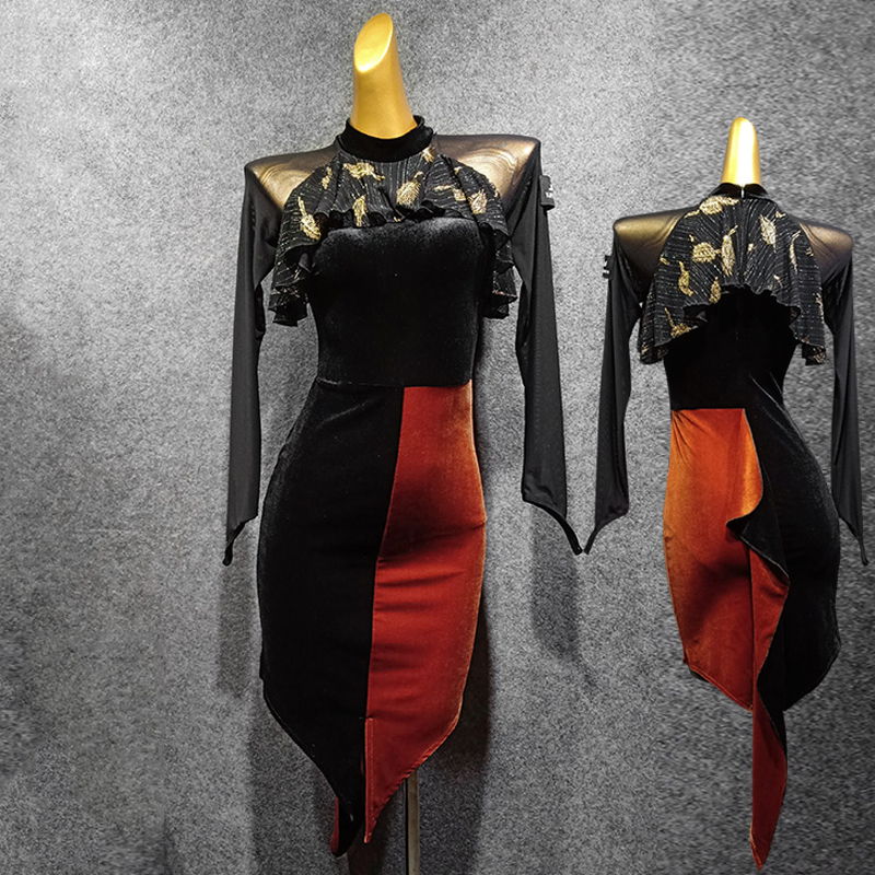 Latin Dance Dress Women Black Dress Dancing Irregular Skirt Competition Clothing Wear Party Dancewear Perform Latin Dress 1301