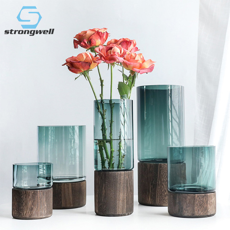 19.48US $ 40% OFF Strongwell Nordic Solid Wood Base Glass Vase Luxury Wedding Decor Bedside Plants H...