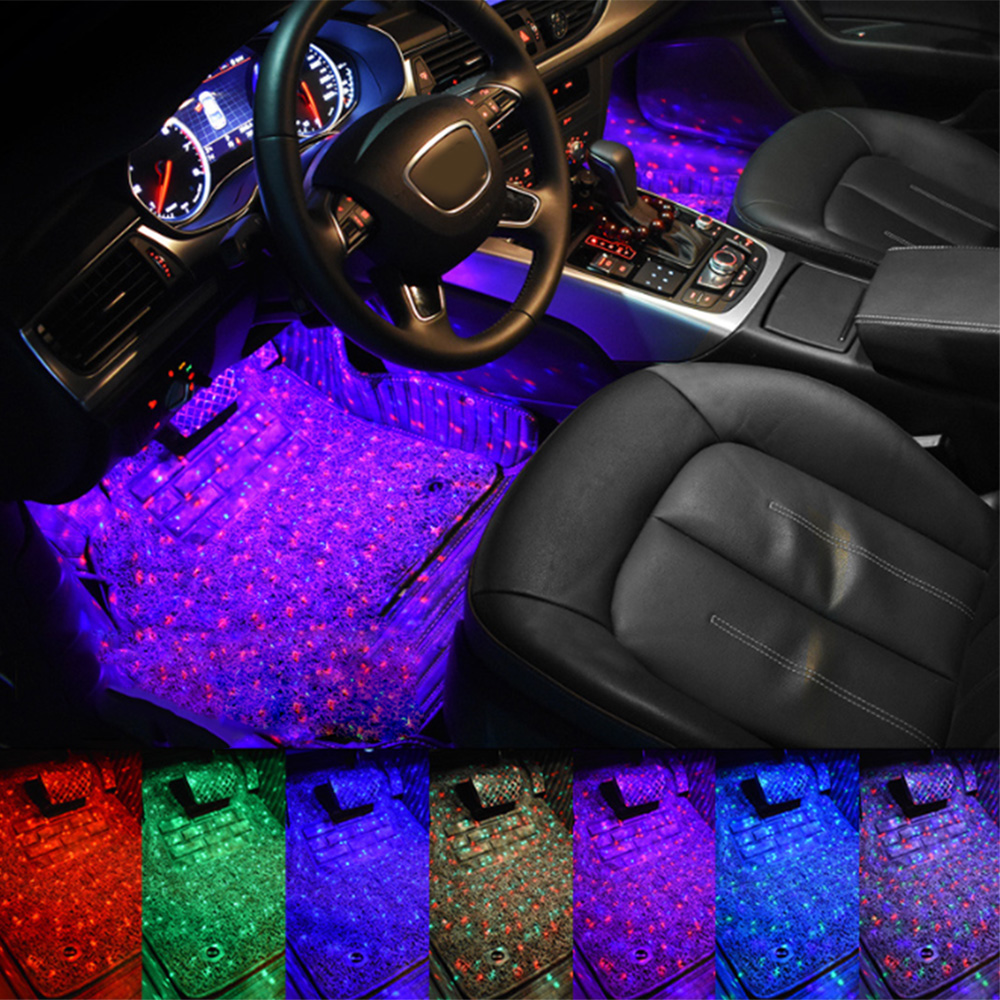 7Colors Auto Decorative Lamp Car Ambient Foot Star Starry Light Interior Neon Atmosphere Light Music Voice Control USB LED RGB image