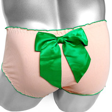 Ruffles Sissy Briefs Panties With Big Knotbow Sexy Lingerie Cotton Slim Low rise Men Brief Underwear Breathable Male