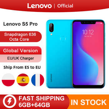 Küresel sürüm Lenovo S5 Pro 6GB 64GB Snapdragon 636 Octa çekirdek Smartphone 20MP dörtlü kameralar 6.2 inç Octa çekirdek 4G LTE telefonları