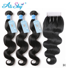 Alisky Brazilian Hair Weaves Body Wave 3 Bundles with 4x4 Lace Closure 100% Human Hair Extensions Remy Hair Bundles With Closure