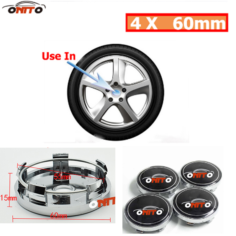 Auto accessories 60mm car Wheel Center <font><b>Hub</b></font> <font><b>Cap</b></font> Wheel Dust-proof Badge emblem covers 4pcs/lot for skoda <font><b>bmw</b></font> volvo toyota audi image