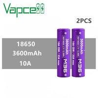 2pcs Vapcell original INR 18650 3600mAh 10A M36 3.7V Li ion battery rechargeable high power batteries for Power tool flashlights
