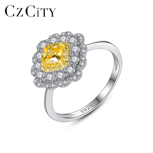 CZCITY 925 Sterling Silver Flower Yellow