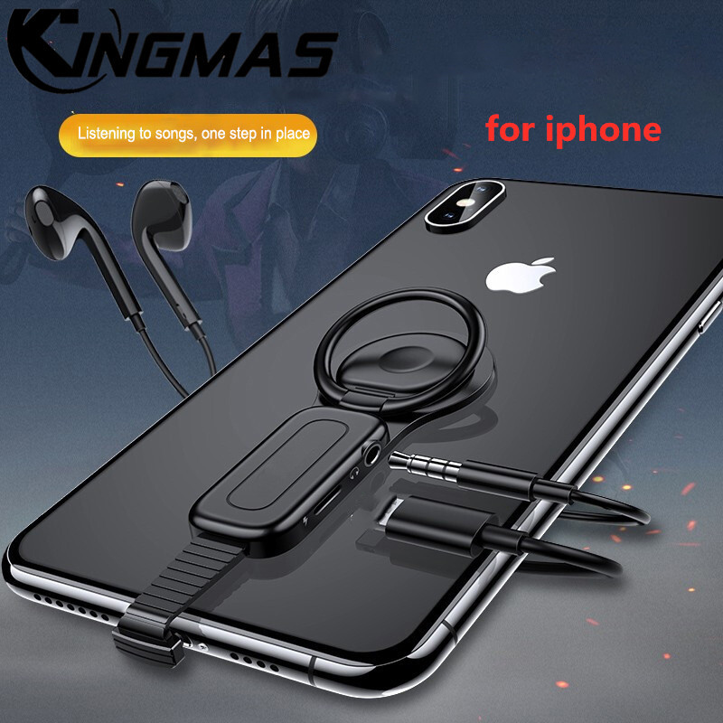 ring holder 3.5mm <font><b>Adapter</b></font> for <font><b>iPhone</b></font> 6 7 8 plus X XR XS 11 Pro MAX AUX up audio charger splitter <font><b>Jack</b></font> headphones headset <font><b>adapter</b></font> image