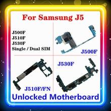 삼성 갤럭시 J5 J500F J510F/FN J530F 마더 보드 전체 칩 메인 보드 싱글/듀얼 SIM 로직 보드 안드로이드 OS 설치