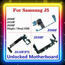 لسامسونج غالاكسي J5 J500F J510F/FN J530F اللوحة الأم مع رقاقة كاملة اللوحة الرئيسية واحدة/المزدوج سيم المنطق مجلس نظام التشغيل أندرويد المثبتة