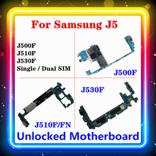 Para samsung galaxy j5 j500f j510f/fn j530f placa mãe com chip completo mainboard único/placa lógica sim duplo android os instalado