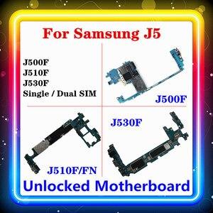 Image 1 - Placa base para Samsung Galaxy J5 J500F J510F/FN J530F con Chip completo, placa lógica única/Dual SIM, sistema operativo Android instalado