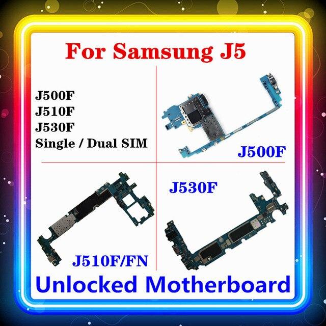 Placa base para Samsung Galaxy J5 J500F J510F/FN J530F con Chip completo, placa lógica única/Dual SIM, sistema operativo Android instalado