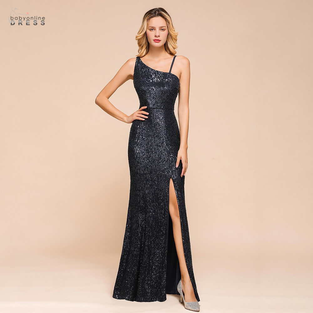 Sexy Black One Shoulder Mermaid Long Evening Dress Backless 2020 Sequins Evening Prom Gowns Crystals Robe De Soiree Longue
