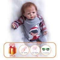 22 zoll Reborn Baby Puppe Handgemachte Weiche Silikon Lebensechte Reborn Puppen Neugeborenen Realistische Baby Puppen Spielzeug Für Kinder Geburtstag Geschenk