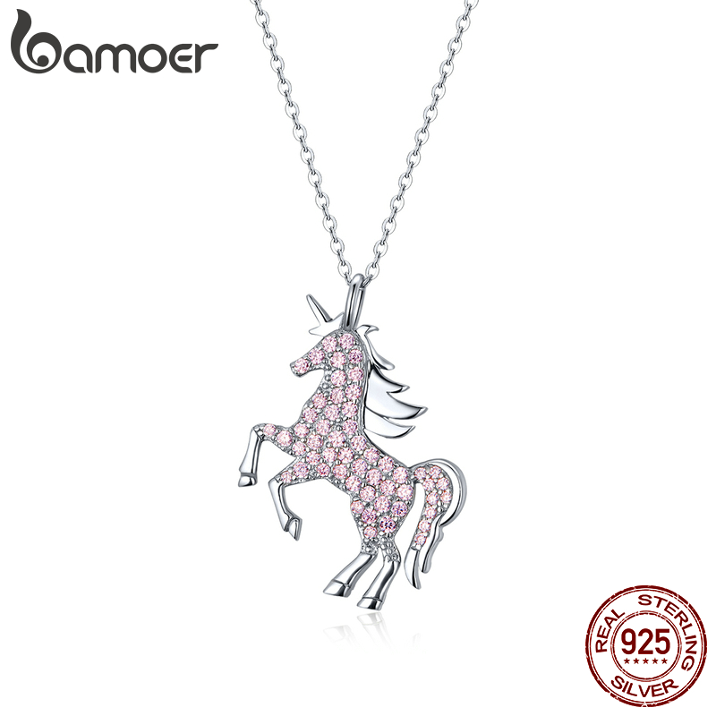 bamoer Real 925 Sterling Silver Pink CZ Horse Licorne Pendant Necklace for Women Chain Necklaces Design Wedding Jewelry BSN161