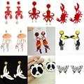 Симпатичные акриловые серьги Donarsei в виде животных для женщин, модные длинные серьги-подвески в виде попугая, Красного краба, осьминога
