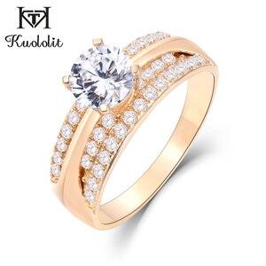 Image 1 - Kuololit 10K 14K Geel Goud 100% Natuurlijke Moissanite Edelsteen Ringen Voor Vrouwen Handgemaakte Ringen Engagement Bruid Gift Fijne sieraden