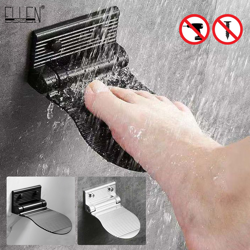 Ellen Shower Foot Rest Bathroom Pedals Non-slip Shower Footstool Pedestal Pedals Elderly Pregnant Bath Stool Black EL802