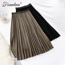 Foamlina Повседневная Женская плиссированная юбка эластичная талия трикотажная юбка серебряная нить блестящая винтажная Стильная осенне-зимняя юбка миди