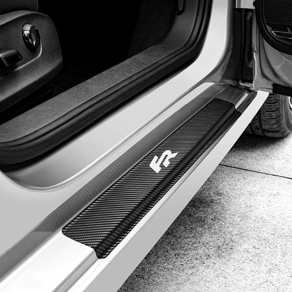 4 قطعة ملصقات السيارات عتبة الباب حامي ديكور ل مقعد FR ليون MK3 MK2 إيبيزا 6J 6L السيارات ألياف الكربون ملصق مائي اكسسوارات السيارات ضبط