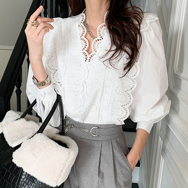 Nomikuma Lace Ruffle Patchwork Women Blouse Puff Long Sleeve V-neck Elegant Blusas Top 2021 Spring New Pullover Shirt 6E071 4