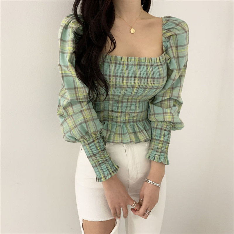 Alien Kitty Plaid Chic Korean Elegance Sweet All Match 2020 Girls Gentle Women Blouses Square Collar High Waist Short Shirts