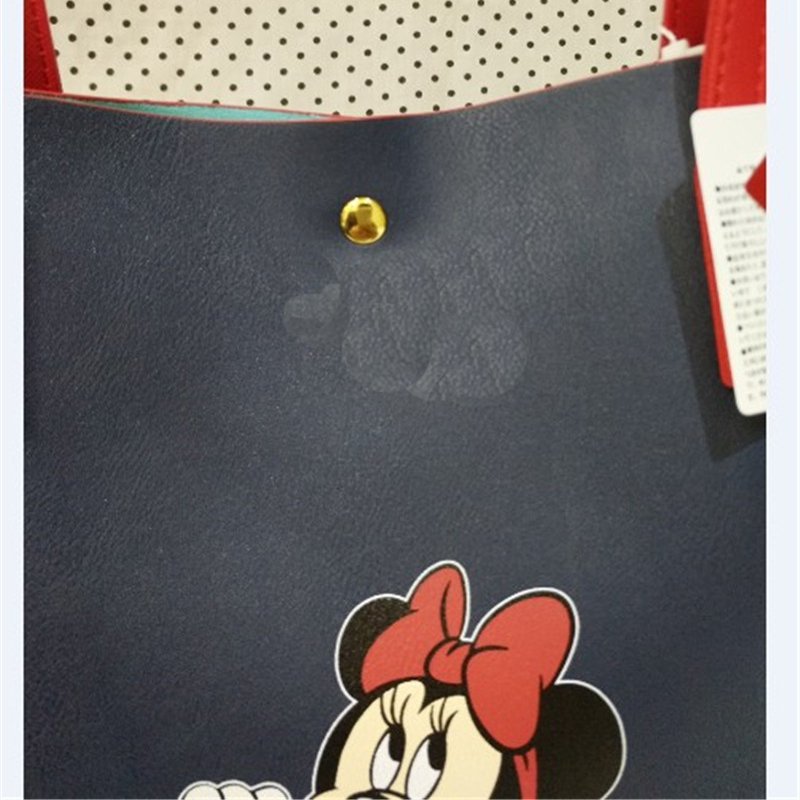 Disney Mickey Minnie Fashion Women's Shoulder Hangbag PU Material Large Capacity Women Supermarket Shopping Hangbag Shoulder Bag