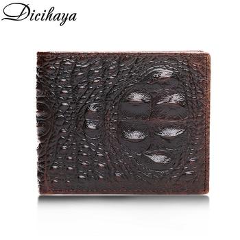 Cartera de piel auténtica para hombre, billetera pequeña, vintage, de cocodrilo, Horizontal,...
