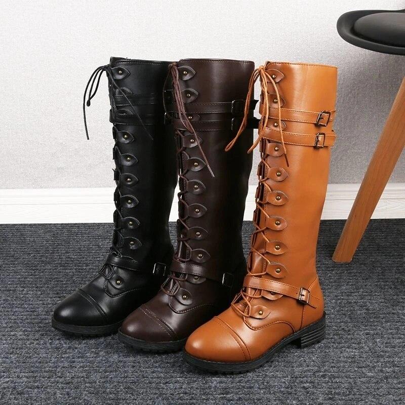 Fashion Women Steampunk Gothic Vintage Retro Punk Buckle Military Combat Boots