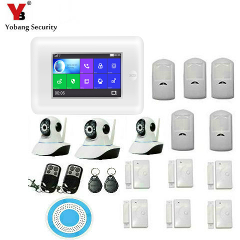 APP Control 4.3 Inch Touch Screen RFID Wifi GSM Home Burglar Security Alarm System Video IP Camera French Spanish Russian Detuch