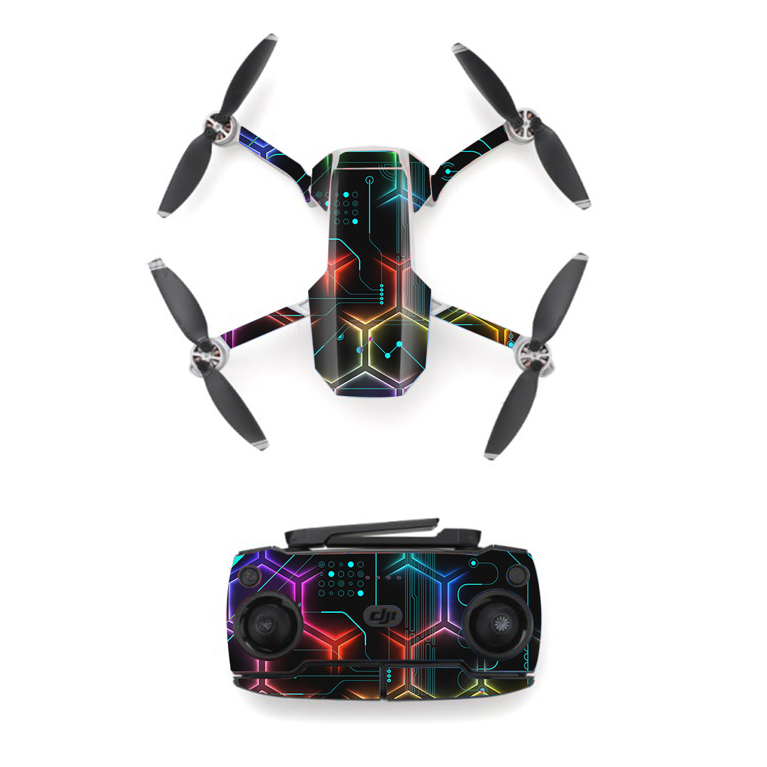 Colorful Line Style Skin Sticker For DJI Mavic Mini Drone And Remote Controller Decal Vinyl Skins Cover M0079