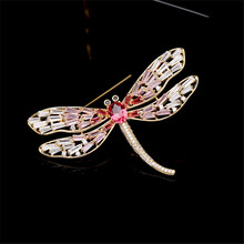 New Luxury Insect Three Zircon Color Women Brooch Crystal Dragonfly Pin Clothes Bag Scarf Dress Accessories