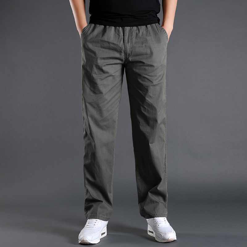 L-6XL Cargo Pants Men Pocket Out Door Full Length Pants Male Simple Black Straight Trousers Homme Loose Cotton Casual Pants Grey