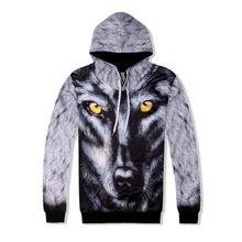 Mode Mannen Hip Hop 3D Wolf Gedrukt Hoody Sweatshirt Tweedelige Set Jogging Trainingspak Ensemble Homme High Street Casual Doek set(China)