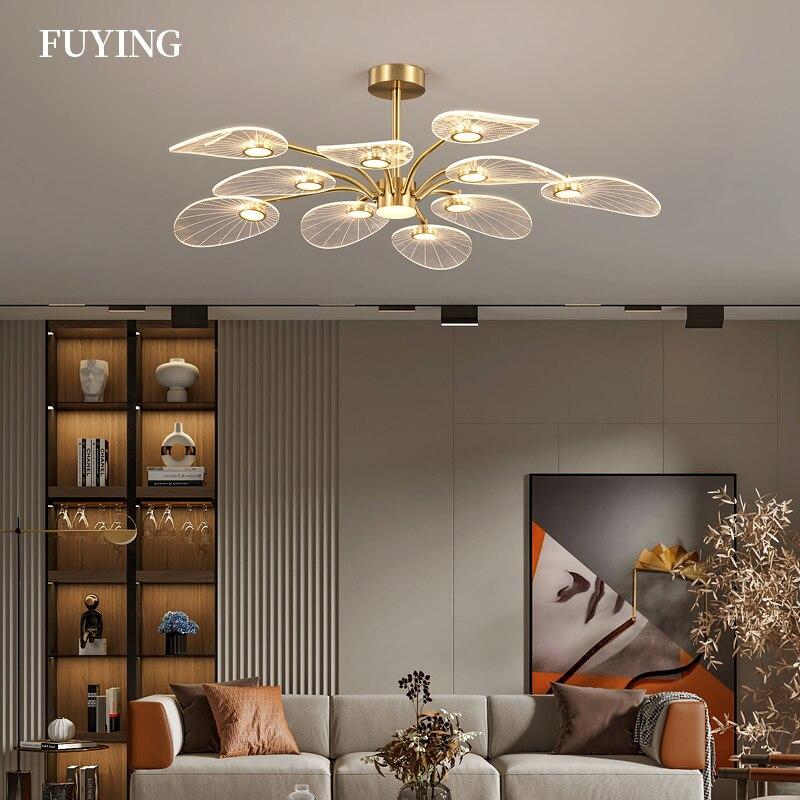 2021 Fuying nowoczesny skandynawski luksusowy żyrandol LED trzy kolory ściemniania salon jadalnia Hotel sypialnia oświetlenie wewnętrzne domu