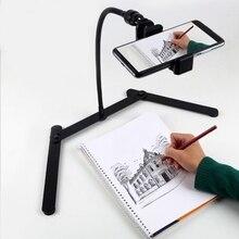 מתכוונן חצובה עם הסלולר מחזיק, תקורה טלפון הר, שולחן למעלה הוראה באינטרנט Stand עבור הזרמה