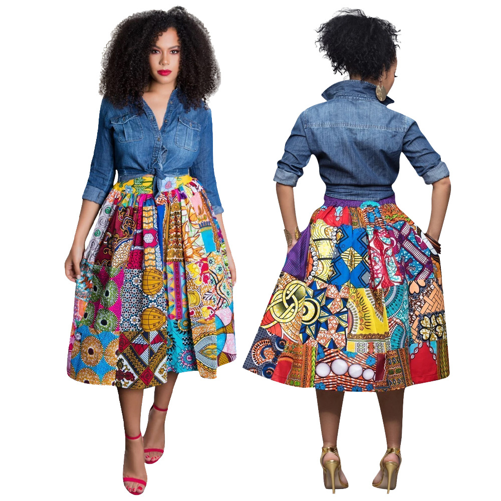 2019 New Arrival Sexy Fashion Style African Women Printing Polyester Plus Size Skirts S-2XL