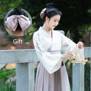 Image 2 - Traditional Japanese Kimono Woman Retro Floral Fashion Haori Clothing Set Spring Oriental Party Photography Clothes for Girls