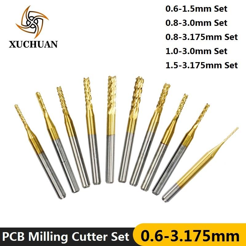 """10pcs 1.1mm Cutting CNC PCB End Mill Engraving Bits 1//8/"""" Shank"""