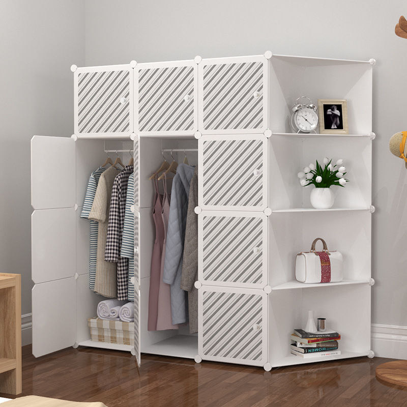 font b Closet b font modern simple storage cabinet steel pipe thickening and reinforcement assemble