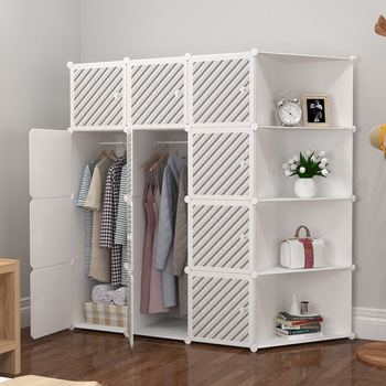 Closet modern simple storage cabinet steel pipe thickening and reinforcement assemble plastic folding clothes storage cabinet