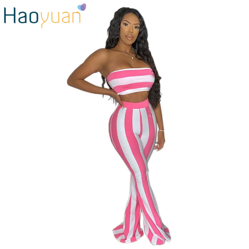 ZOOEFFBB Striped Print Two Piece Set Strapless Crop Tops And Flare Pants Matching Sets Club Party Sexy 2 Piece Outfits For Women