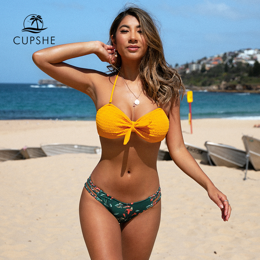 CUPSHE Smocked Yellow Bowknot Front And Floral Bikini Sets Sexy Swimsuit Two Pieces Swimwear Women 2020 Beach Bathing Suit