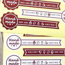 60pcs/pack Handmade BAKED GOODS Cake Brown Sealing Stickers Scrapbooking DIY Party Gift