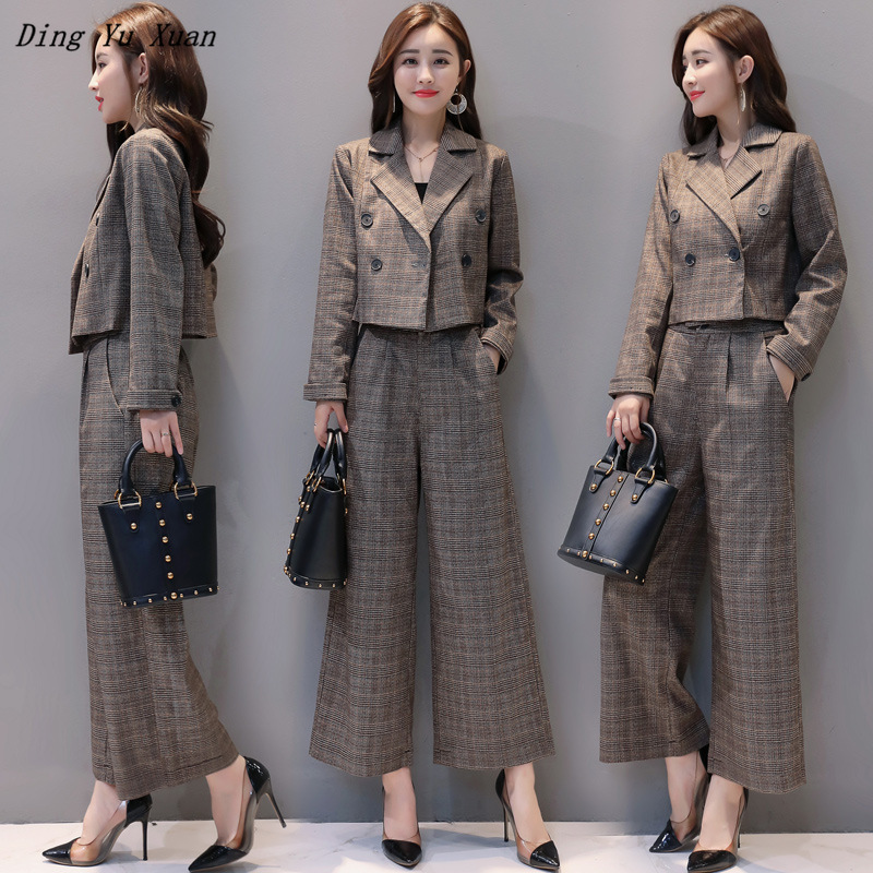 2020 Korean Casual Wide Leg Pants Suits for Women Short Blazer Jacket Long Trouser Grey Brown Plaid Office Work Pantsuit Elegant
