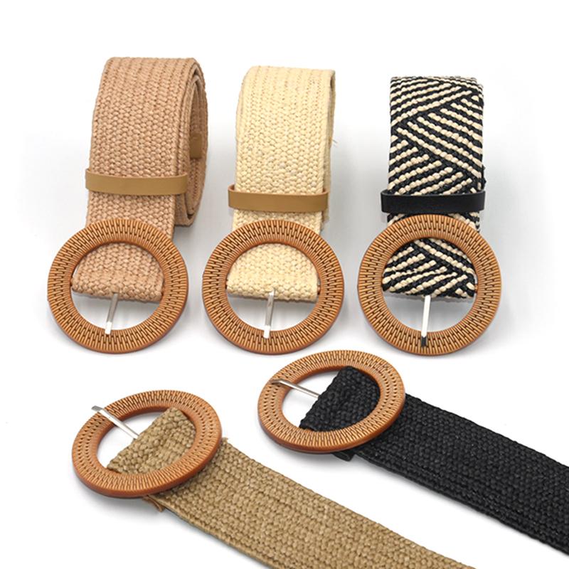 Summer Women Braided Elastic Belt Round Square Wooden Buckle Vintage Bohe Straw Buckle Belt Women Knitted Belt Dress Belt